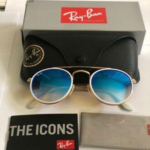 Ray Ban 3647 Blue Gradient Gold round frame UNISEX